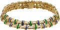 Estate Jewelry:Necklaces, Diamond, Sapphire, Emerald, Gold Necklace, Charles Krypell. ...