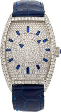 Estate Jewelry:Watches, Franck Muller Lady's Diamond, Sapphire, White Gold Double Mystery D, Master of Complications Watch. ...