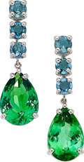 Estate Jewelry:Earrings, Paraiba Tourmaline, Tourmaline, White Gold Earrings. ...