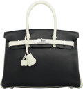 :Bags, Hermès Special Order 30cm Black & White Togo Leather Birkin Bag with Palladium Hardware. Q Square, 2013. Condition: 3...