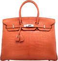 "Luxury Accessories:Bags, Hermès 35cm Sanguine Alligator Birkin Bag with Palladium Hardware. O Square, 2011. Condition: 2. 14"" Width x 10"" H..."