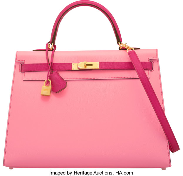 ... Hermès 35cm Rose Confetti  amp  Rose Tyrien Epsom Leather SellierKelly  Bag with ... 76b1ba6d46aa7