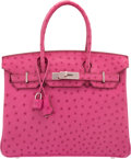 "Art Glass, Hermès 30cm Fuchsia Ostrich Birkin Bag with Palladium Hardware. M Square, 2009. Condition: 2. 11.5"" Width x 8"" Hei..."
