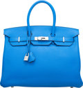"Luxury Accessories:Bags, Hermès 35cm Blue Hydra Togo Leather Birkin Bag with Palladium Hardware. Q Square, 2013. Condition: 2. 14"" Width x ..."