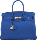 """Luxury Accessories:Bags, Hermès 35cm Blue Electric Togo Leather Birkin Bag with Gold Hardware. Q Square, 2013. Condition: 2. 14"""" Width x 10..."""