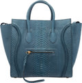 "Luxury Accessories:Bags, Celine Blue Python Phantom Luggage Tote Bag. Condition: 2.12"" Width x 11"" Height x 9"" Depth"