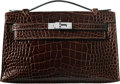 """Luxury Accessories:Bags, Hermès Cafe Alligator Kelly Pochette Bag with Palladium Hardware. N Square, 2010. Condition: 2. 8.5"""" Width x 5"""" He..."""