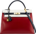 Luxury Accessories:Bags, Hermès 32cm Rouge Vif, White, & Black Calf Box Leather Sellier Kelly Bag with Gold Hardware. S Circle, 1989. Condition...