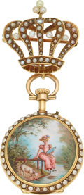 Estate Jewelry:Watches, Seed Pearl, Enamel, Gold, Yellow Metal Lapel Watch . ...
