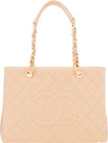"""Luxury Accessories:Bags, Chanel Beige Quilted Caviar Leather Grand Shopping Tote Bag with Gold Hardware. Condition: 2. 13"""" Width x 9.5"""" Height ..."""