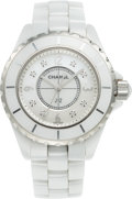 Luxury Accessories:Accessories, Chanel 33mm White Ceramic J12 Watch. Condition: 2. Full Length Bracelet. ...