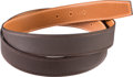 Luxury Accessories:Accessories, Hermès 32mm Perforated Chocolate & Fauve Barenia Leather Belt Strap. Condition: 1. Size: 120cm. ...