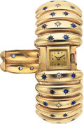 Estate Jewelry:Watches, Swiss Lady's Diamond, Sapphire, Gold Covered Dial Watch . ...