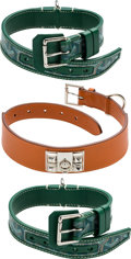 Luxury Accessories:Accessories, Set of Three: One Orange Hermès & Two Green Goyard Dog Collars. Condition: 2. See Extended Condition Report for Sizes... (Total: 3 Items)