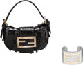 Luxury Accessories:Accessories, Fendi Set of Two: Black Sequin Mini Bag & Gray Resin Cuff. Condition: 3. See Extended Condition Report for Sizes. ... (Total: 2 Items)