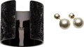 Luxury Accessories:Accessories, Set of Two: Dior Pearl Earrings & Burberry Black Cuff. Condition: 1. See Extended Condition Report for Sizes. ... (Total: 2 Items)