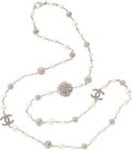 """Luxury Accessories:Accessories, Chanel Faux Pearl & Crystal Necklace. Condition: 2. 42"""" Length. ..."""