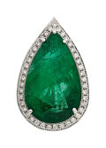 Estate Jewelry:Rings, Emerald, Diamond, White Gold Ring-Dant. ...