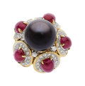 Estate Jewelry:Rings, Black South Sea Cultured Pearl, Ruby, Diamond, Gold Ring. ...