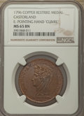 """(1796) Medal Castorland Paris Restrike, Copper, Reeded Edge, E: Pointing Hand """"Cuivre"""", MS65 Brown NGC. NGC Ce..."""