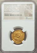 Ancients:Byzantine, Ancients: Maurice Tiberius (AD 582-602). AV solidus (21mm, 4.49 gm,7h). NGC MS ★ 5/5 - 5/5....