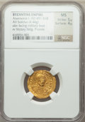 Ancients:Byzantine, Ancients: Anastasius I (AD 491-518). AV solidus (21mm, 4.44 gm, 6h). NGC MS 5/5 - 4/5....