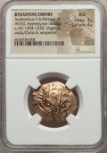 Ancients:Byzantine, Ancients: Andronicus II Palaeologus and Michael IX (AD 1294-1320).AV/EL hyperpyron (26mm, 4.48 gm, 5h). NGC AU 3/5 - 4/5....