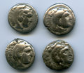 Ancients:Ancient Lots , Ancients: ANCIENT LOTS. Greek. Macedonian Kingdom. Alexander IIIthe Great (336-323 BC). Lot of four (4) AR drachms. Fine....(Total: 4 coins)