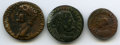 Ancients:Ancient Lots , Ancients: ANCIENT LOTS. Roman Imperial. Ca. AD 41-54. Lot of three(3) AE issues. Fine-VF.... (Total: 3 coins)