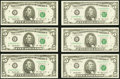 Fr. 1982-E* (3) $5 1993 Federal Reserve Star Notes. Choice Crisp Uncirculated; Fr. 1983-G* (3); H* (4); L (3) $