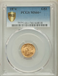 Gold Dollars, 1874 G$1 MS66+ PCGS Secure....