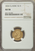 Classic Quarter Eagles, 1834 $2 1/2 AU58 NGC. Breen-6138, Variety 1, R.1....