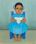 Fine Art - Painting, American, Gustavo Montoya (Mexican, 1905-2003). Girl with Dove. Oil oncanvas. 22-1/4 x 18-1/4 inches (56.5 x 46.4 cm). Signed low...