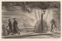 Reginald Marsh (American, 1898-1954) Rue Bonaparte, Priest, Lovers, 1928 Lithograph on paper 8-1/