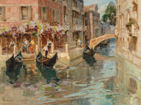 Angelo Brombo (Italian, 1893-1962) Venetian Gondoliers Oil on canvas 24 x 32 inches (61.0 x 81.3