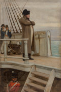 Fine Art - Painting, American, William Henry Margetston (British, 1861-1940). Napoleon inExile. Oil on canvas laid on board. 35-1/2 x 22-1/4 inches(9...
