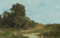 Fine Art - Painting, American, Homer Dodge Martin (American, 1836-1897). Washerwomen at theCreek. Oil on board. 8 x 13 inches (20.3 x 33.0 cm). Signed...
