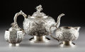 Asian:China Trade, A Kwan Wo Chinese Export Silver Teapot and Creamer with Dragon and Wispy Cloud Motif with Associated Burmese Silver Sugar, H... (Total: 3 Items)