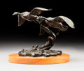 Sculpture, Clark Everice Bronson (American, b. 1939). Wild Wings, 1975. Bronze with brown patina. 8-1/2 inches (21.6 cm) high on a ...