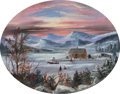 Fine Art - Painting, European:Antique  (Pre 1900), Attributed to Régis François Gignoux (French, 1816-1882). SunsetOver a Winter Landscape. Oil on paper. 7-5/8 x 9-7/8 in...