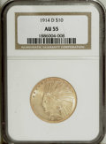 Indian Eagles: , 1914-D $10 AU55 NGC. NGC Census: (30/1451). PCGS Population(105/1282). Mintage: 343,500. Numismedia Wsl. Price: $485. (#88...
