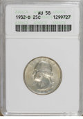 Washington Quarters: , 1932-D 25C AU58 ANACS. A satiny and unmarked key date quarter withpastel gunmetal-blue, lime, and apricot tints. A whisper...