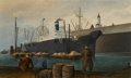 Fine Art - Painting, American, Byron Thomas (American, 1902-1978). Brooklyn Dock, 1930. Oilon canvas. 12 x 20 inches (30.5 x 50.8 cm). Signed and date...