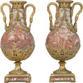 Decorative Arts, Continental:Other , A Pair of Louis XVI-Style Gilt Bronze and Rouge Marble Cassolettes,20th century. 19-3/4 inches (50.2 cm) (each)