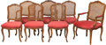 Furniture , Seven French Provincial-Style Carved Walnut Chairs. 39 x 26 x 18 inches (99.1 x 66.0 x 45.7 cm) (largest, armchair). PROPE... (Total: 7 Items)