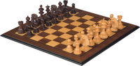 A Large Presentation-Grade Carved Wood Chess Set, 20th century 21-1/2 x 21-1/2 inches (54.6 x 54.6 cm) (board)