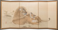 Other, A Japanese Nihonga School Six-Panel Painted Folding Room Screen Depicting Resting Lion and Lioness, Meiji-Taisho Period, ear...