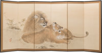 A Japanese Nihonga School Six-Panel Painted Folding Room Screen Depicting Resting Lion and Lioness, Meiji-Taisho Peri