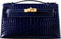 """Luxury Accessories:Bags, Hermès Shiny Blue Saphir Alligator Kelly Pochette Bag with Gold Hardware. A, 2017. Condition: 2. 8.5"""" Width x 5"""" H..."""