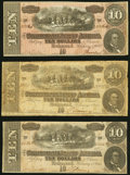 Confederate Notes:1864 Issues, T68 $10 1864 PF-1, -3, -7 Very Good or better.. ... (Total: 3 notes)